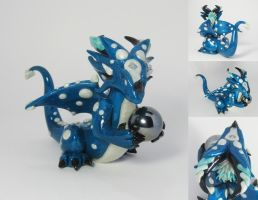 Blue and Pearl Polymer Dragon by MiniMythicalMonsters