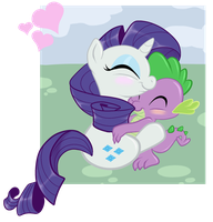 Rarity and Spike snuggles by Starlite-Synth