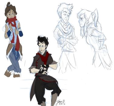 Korra and Mako sketches by Jarda-Potter