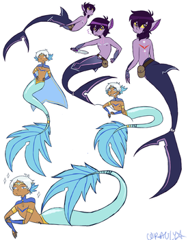 Altean Mermaid Lance and Galra Shark Keith by Psychesketch-star