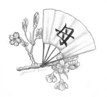 Tattoo Design - sakura+fan by Shinobinaku
