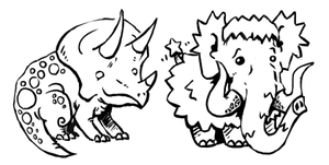 Triceratops n Mammoth Lineart by gsilverfish