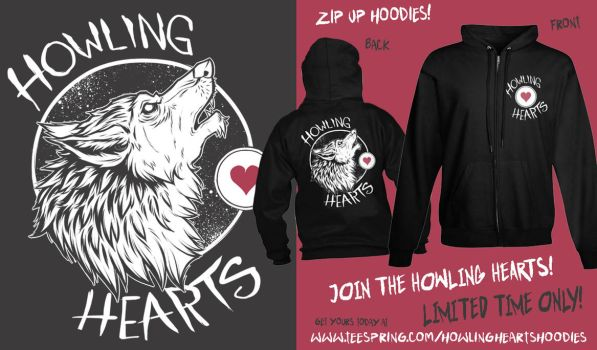 Howling Hearts Zip Up Hoodie by sirhcsellor