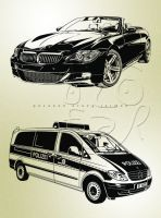 BWM and Ambulance Line Art vector by ndop
