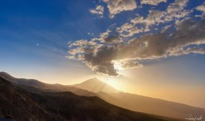 Sunset over the volcano land by janapka
