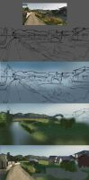 Japan Countryside study (step by step) by Kurobot