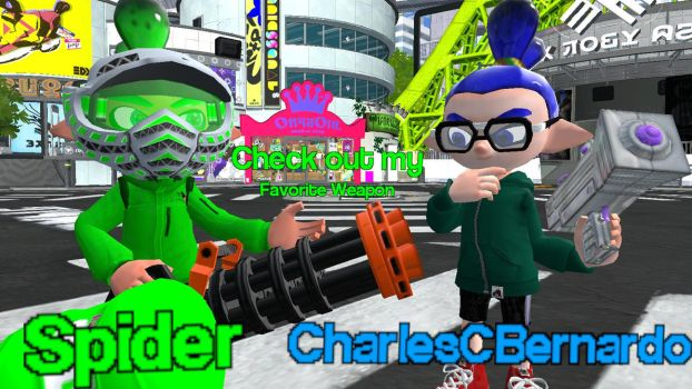Showing their weapons at Inkopolis. by ASpider25