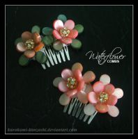Waterflower Combs by Kurokami-Kanzashi
