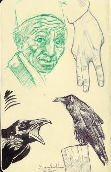 Ravens, Old Man, Hand by Mellish