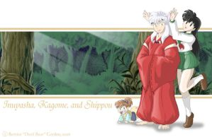 Inuyasha, Kagome and Shippou by tarkheki