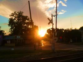 Sunset at Hardy Street Crossing by SwiftWindSpirit