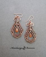 Earrings with a solar stone by nastya-iv83