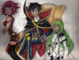 Lelouch, kallen and CC by titanstargirl