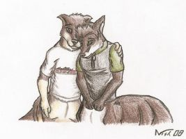 Consoling a foxtaur by BrownFox