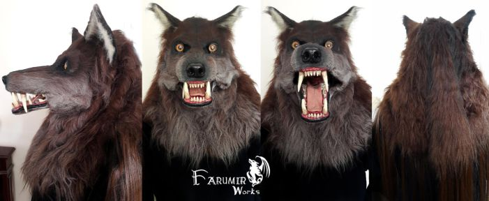 Dark Oak werewolf mask commission by Farumir