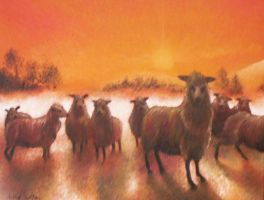 Sheep in Sunset -OILSonCanvas- by eccentricone