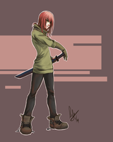 Red bein awesome with a sword by emeraudolupus