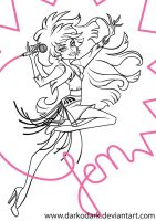Jem Truly Outrageous line work by darkodordevic