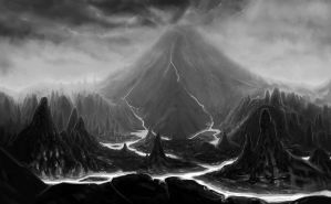 Sketch Red Mountain (Morrowind) by ThornSpine