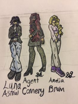Luna, Agent Conerry, and Amelia by GrimlockGabe