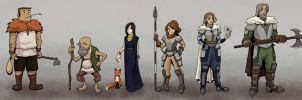 Lineup- animation character concepts- color by sapphire-feather