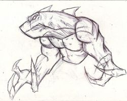 Busy Sketch: Sharkodile Concept by InfectedLobster