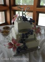 Lily and orchid wedding cake by cake-engineering