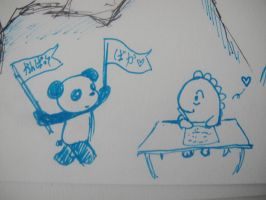 Dino and Panda at school 1 by MelodicInterval