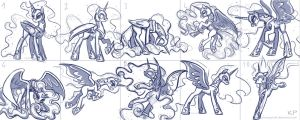 Nightmare Moon Sketches by KP-ShadowSquirrel