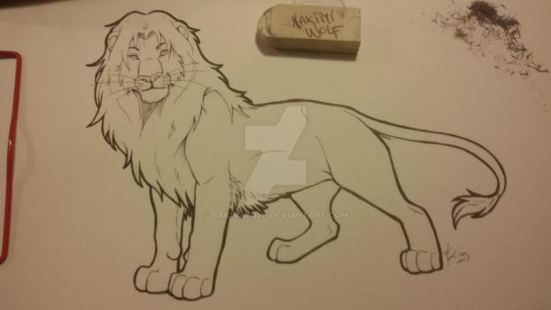Lion Lineart  by NakimiWolf