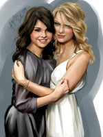 Selena Gomez and Taylor Swift by iloovedoggies