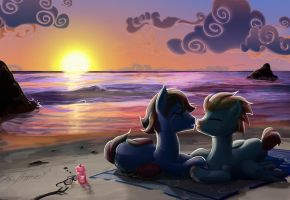 Sunset hearts by Kraden