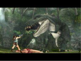 Lara Croft and T-rex. by Chriss2010