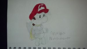 Baby Mario in his cape by Themysterydrawer