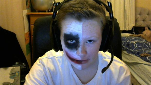 Two Face Joker Makeup (Facepaint) by AstroLuxray