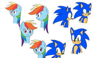 Sonic and Rainbow Dash Sketch Practice by MegaArtist923