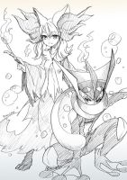 Pokemon Gijinka - Fire and Water by MONO-Land