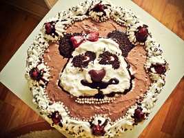 Panda cake by despicablealexis