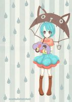 little witch in the rain by numnim
