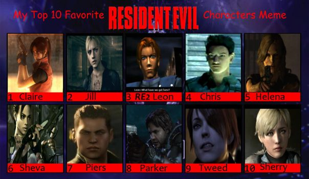 Top 10 Favorite RE characters by xXLife-Starts-NowXx
