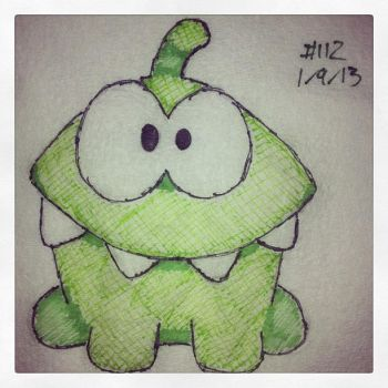 Napkin Art 112 - Om Nom - Cut the Rope by PeterParkerPA