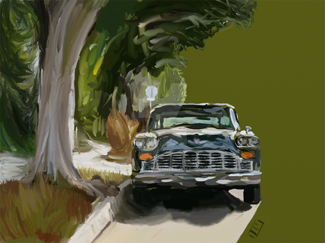 Checker Taxi w/ Partial Background by Shnax