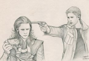 Loki, Dean and a piece of pie... by slugette