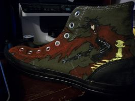 Hand Painted Vincent Valentine Converse Shoe by Metallica005