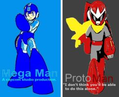Mega Man and Proto Man Pop Art by TheGreatDevin