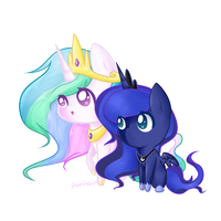 Princess Celestia and Luna by ponibun