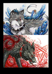 ACEO- Fumiko and Harakiri by grouchywolfpup