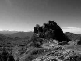 What is left of the castle of Roquefixade by Nebruban