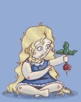 HP -- Lil' Luna and a Radish by tamerofhorses