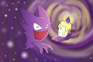 Haunter and Litwick by Nannerkins